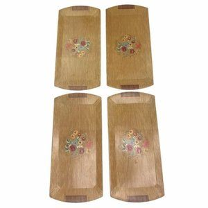 Midcentury Hasko Haskelite Flower Wood Lap Trays